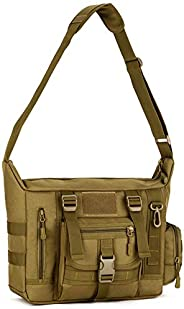 Military Shoulder Bag Large Water Resistant Daypack with Molle 14 Inch Laptop Crossbody Messenger Bag for Hunt