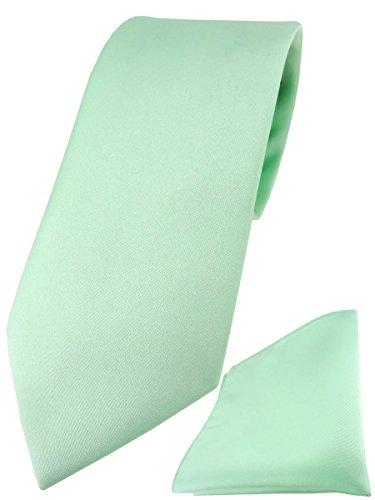 TigerTie Designer Krawatte Einstecktuch in mint einfarbig uni (Einstecktuch Und Mint-krawatte)