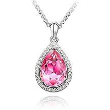 Venta de liquidación MARENJA Cristal-Collares Mujer Gota Lágrima Gargantilla Chapado en Oro Blanco Cristal Rosa 40-45cm