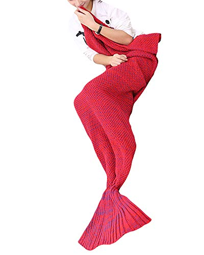 Meerjungfrau Decke für Erwachsene Häkeln Snuggle Sofaüberwürfe mit Strickmuster weiche Couch Blanket