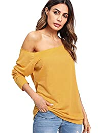 123634ff8cc00a DIDK Damen T-Shirt One-Shoulder Larngarmshirts Einfarbig Oberteil Tunika…