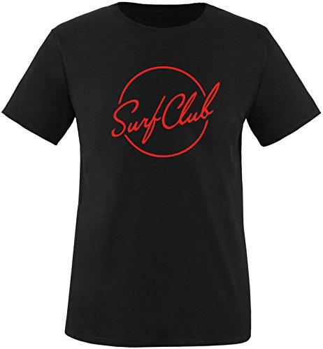 EZYshirt® Surfclub Herren Rundhals T-Shirt Schwarz/Rot
