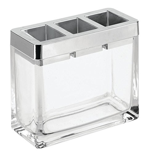InterDesign Casilla Geteilter Zahnbürsten Halter für Den Waschtisch, Zahnbürstenaufbewahrung aus Glas und Kunststoff, Durchsichtig und Silberfarben