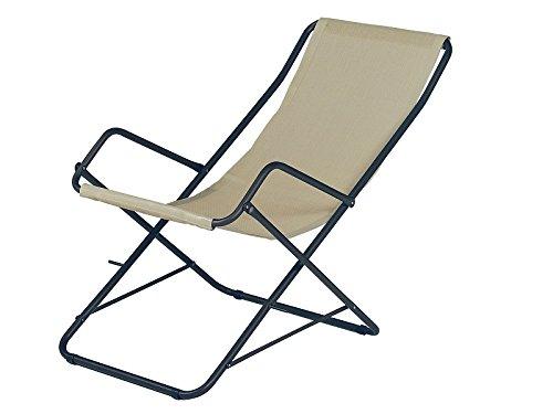 Bahama Chaise longue pliable Art. 170 - Châssis couleur Fer Ancien cod. 22 et drap écrue