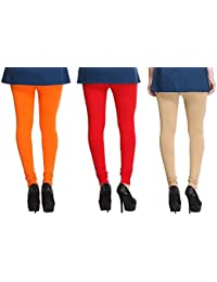 Leggings Free Size Cotton Lycra Churidar Leggings Pack Of 3 Light Orange , Red & Skin By SMEXY