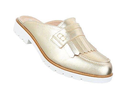 Damen Sandalen Schuhe Strandschuhe Sommerschuhe Pantoletten Slipper Gold