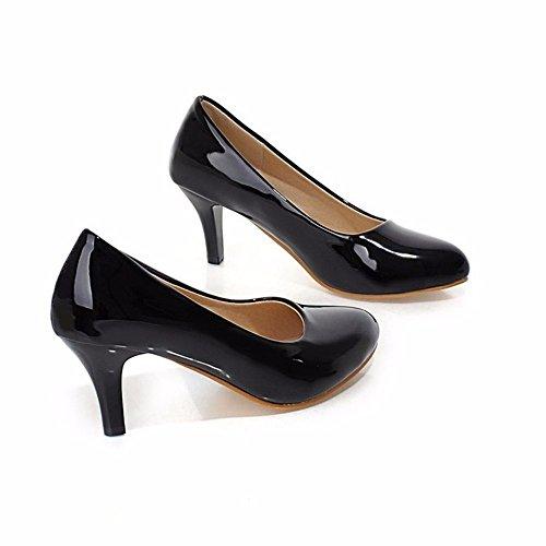 Kleine runde Spiegel hochhackigen Schuhe Schuhe Farbe Code Pendler alle - Frauen Schuhe mit hohen Absätzen, schwarz, (Schuhe Fisch Mit)