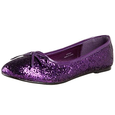 Heels Club Glitter retro Fancy Dress flat shoes pumps, Purple Glitter, 6