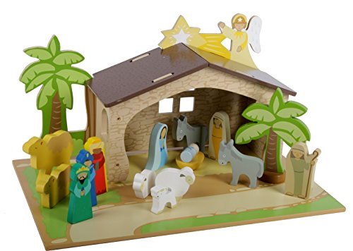 Mentari Krippe für Kinder Weihnachtskrippe aus Holz Spielset