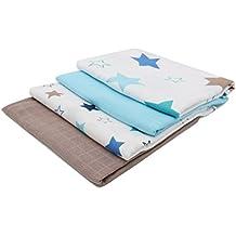 Zollner 4 muselinas de algodón para bebé, 120x120 cm, con estampado de estrellas y colores lisos, serie Sirius