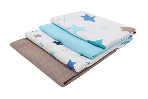 ZOLLNER® 4 paños de muselina / muselinas para bebé / gasas para bebé / mantas de muselina, aprox. 120x120 cm 100% algodón, 2 con estampado de estrellas y 2 con colores lisos, serie