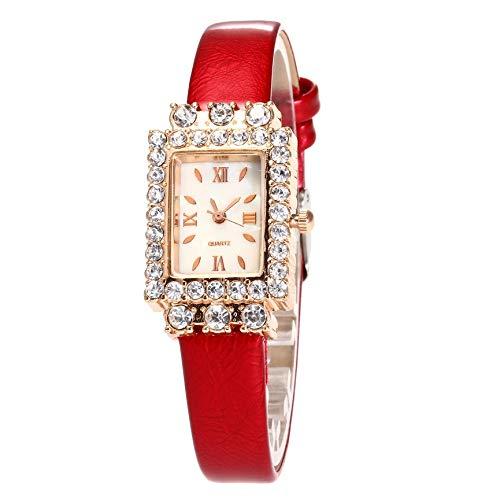 VCB Rechteckiges Zifferblatt Frauen Armbanduhren Damen Quarzuhr mit Strass - rot