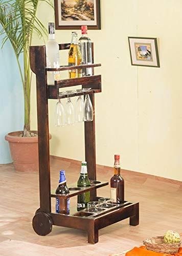 Shagun Arts Sheesham Wood Bar Trolley | Wooden Wine Trolley...