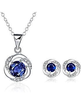 LDUDU® Schmuck Set mit Blauem Zirkon Damen Halskette + Ohrstecker Klassisch Design Anhänger Kettte Ohrringe versilbert...