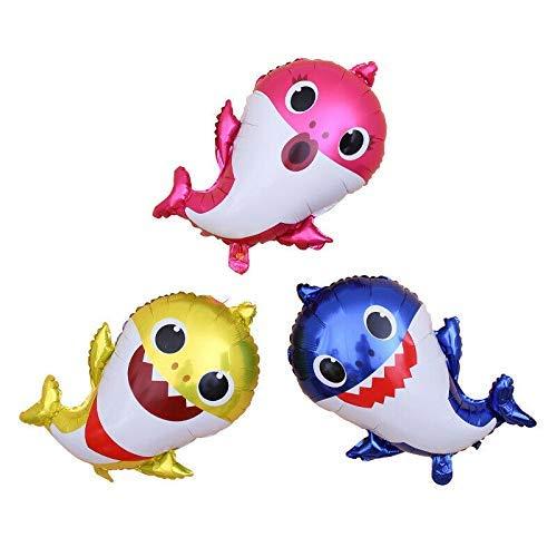 MARFUNY 3 Farben Cute Baby Shark Folienballon Kindergeburtstag Party Supplies Decor