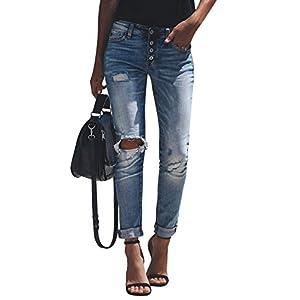 Yidarton Jeans Damen Jeanshosen Röhrenjeans Skinny Slim Fit Stretch Stylische Boyfriend Jeans Zerrissene Destroyed Jeans Hose mit Löchern Lässig