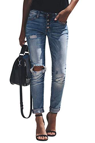 Yidarton Jeans Damen Jeanshosen Röhrenjeans Skinny Slim Fit Stretch Stylische Boyfriend Jeans Zerrissene Destroyed Jeans Hose mit Löchern Lässig (Blau-3, 2XL)