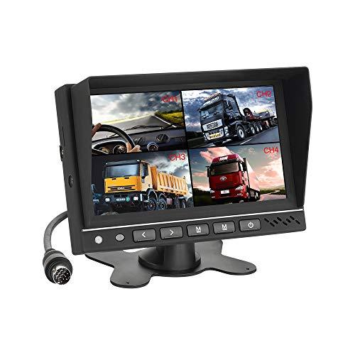 MiCarBa 7-Zoll-Auto-Quad-Video-Eingang LCD-Auto-Monitor, Auto-Umbausatz für CCTV-Sicherheitsüberwachung Auto Kopfstütze Rückfahrkamera Monitor AV-Eingang ...