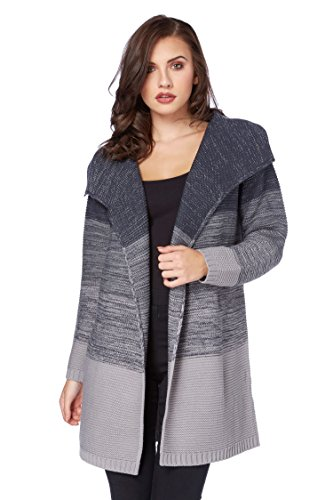 Lurex-karo-shirt (Roman Originals Damen Strickjacke mit Lurex in Grau - 46)