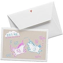 Witzige Valentinskarte mit liebenden Einhörnern - Du & ich vor lauter Liebe immer so - Valentinsgeschenk, zum Jahrestag, Heiratsantrag auf edlem Büttenpapier Beige Pink Türkis mit Umschlag, für Verliebte Grüße