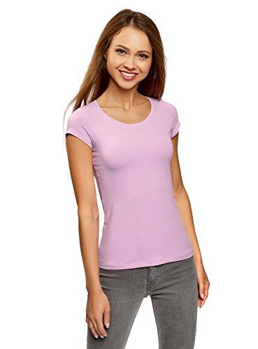 oodji Ultra Donna T-Shirt Basic con Taglio a Goccia sul Retro Viola (8000N)