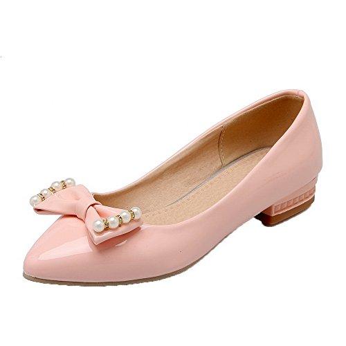Voguezone009 donna tirare tacco basso luccichio puro punta chiusa ballet-flats, rosa, 43