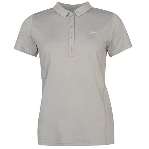 Fleece Langarm-polo-shirt (Slazenger Damen Golf Polo Shirt Kurzarm Unifarben Polohemd Seitenschlitz Grey 14 (L))