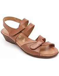 VALLEVERDE Sandali Donna Chiusura Velcro, Tessuto Elasticizzato COD. 32331 Col. Beige 37