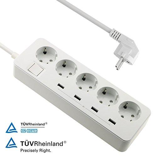 6 Hitze-schalter (WisFox 5-fach Steckdosenleiste mit 4 USB-Anschlüssen für Smartphones, USB-ladende Geräte und Tablets, 1.5 M Kabel, EU Stecker, EU Steckdosen,mit beleuchtetem Schalter, weiß)