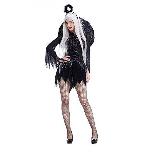 Costour Damen Schwarzer Engel Hexe Cosplay Kostüm Kleid Karneval Halloween Fasching Gothic, Schwarz, XX-Large (Dark Angel Kostüm Für Jungen)