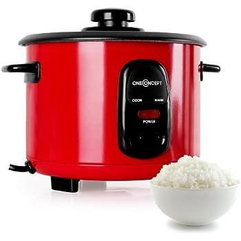 Klarstein Osaka Reiskocher elektrischer Reiskochtopf (1,0 Liter, 400W, Warmhaltefunktion, inkl. Reislöffel und Messbecher) rot
