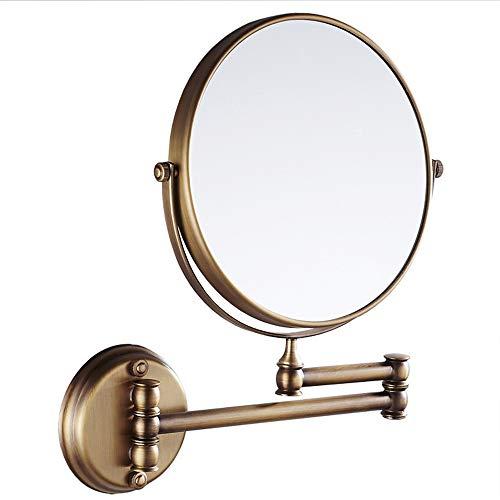 UNGYO 8-inch Retro Doppelseite Runder Ausziehbarer Badezimmerspiegel, Messing Wandhalterung Makeup...