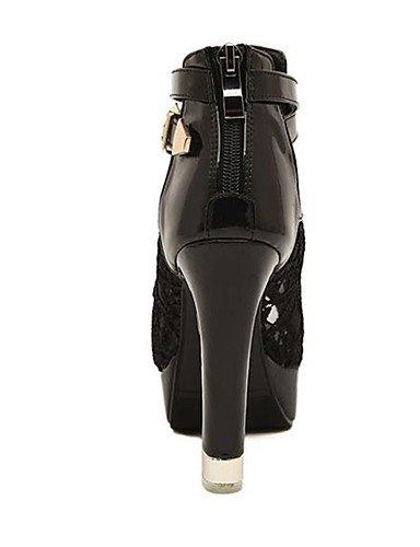 WSS 2016 Chaussures Femme-Décontracté-Noir / Blanc-Talon Aiguille-Talons-Chaussures à Talons-Dentelle black-us5.5 / eu36 / uk3.5 / cn35