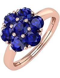 14K Gold Rund Blau Saphir Verlobungsring Band Ring (1,00Karat)