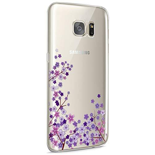 Surakey Galaxy S7 Funda, Funda Transparente Suave TPU Gel Ultra Fina Protección A Bordes Y Cámara Silicona Bumper Crystal Móvil Ultrafina Funda para Samsung Galaxy S7,Flor de Cerezo Morada