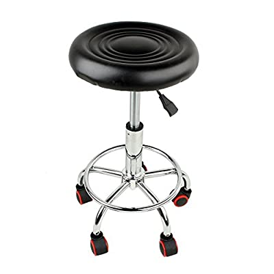 Salon Stool Bar Swivel Chair, Faux PU Leather Manicure Tattoo Spa Chair Swivel Pub Chair Barstools with Hydraulic Gas Lift Height Adjustable, Black - low-cost UK light store.