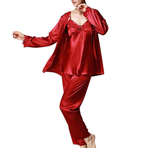 Femme Ensemble Pyjama en Satin Vêtements de Nuit Luxe Lingerie Satin Ensemble pyjama Manche Longue Pantalon alon Longue Vin Rouge Medium