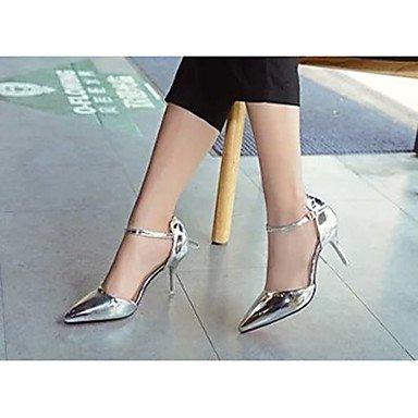 Moda Donna Sandali Sexy donna estate tacchi tacchi in pelle di brevetto Casual Stiletto Heel fibbia Rosso / Argento / Oro Altri Red