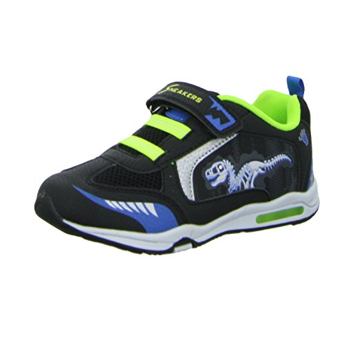 Sneakers JJ3604B Jungen Klettverschluss/Slipper Halbschuh sportlicher Boden Schwarz (Schwarz)