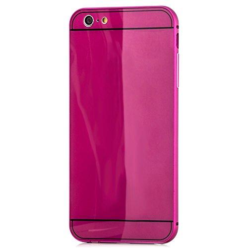 Saxonia iPhone 6 Plus / 6S Plus Hülle Aluminium Case + Panzerglas Schutzhülle Alu Rahmen Bumper und Back Cover   Plexiglas Rückseite Anthrazit Pink