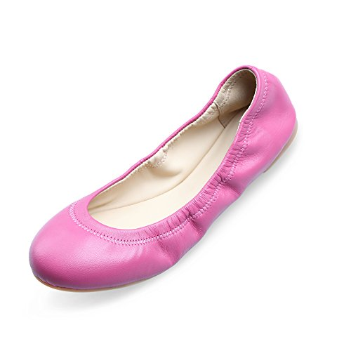 Xielong Chaste Ballett Flach Lammfell Loafers Casual Damen Schuhe Leder Geschlossene Ballerinas Pink 9