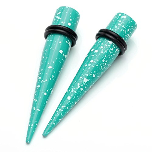 JSDDE 2PCS Piercings Oreilles Acrylique Plug Ecarteurs Coniques Pointes 10MM Turquoise
