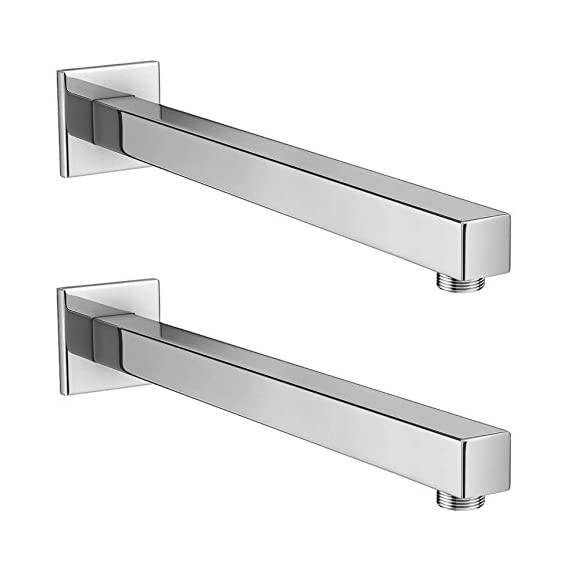 Drizzle 12 Inch Square Shower Arm/Bathroom Overhead Shower Arm/Rain Shower Rod - Set of 2