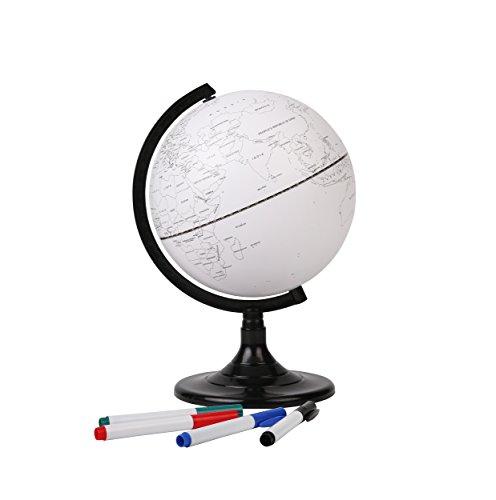 Exerz Globo Terraqueo Educativo en Blanco (20 cm) con 4 Plumas de Punta de Fibra de Colores / marcadores borrables - en Inglés - Diámetro 20 cm EX-GL20DIY
