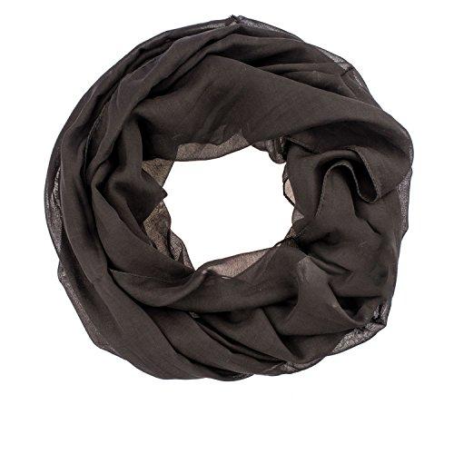 AdoniaMode Damen Herren Loop Schlauch-Schal Hals-Tuch Uni-Farbe leichte Viskose 44-05 Uni Schwarz