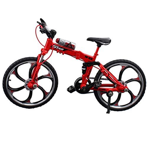 HEITIGN 1:10 Maßstab Metalldruckguss Fahrrad Modell, Mini Fahrrad Sammlung Spielzeug Geschenk, Legierung Klapp Mountainbike für Home Office Bar Decor, Rot
