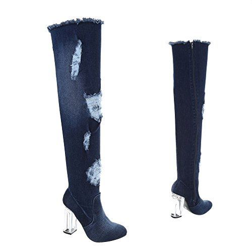 Ital-Design Overknees Damenschuhe Overknees Pump High Heels Reißverschluss Stiefel Dunkelblau HP-43