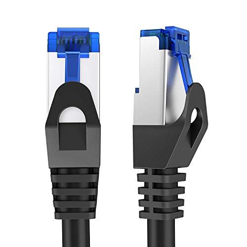 KabelDirekt - 10m - Netzwerkkabel, Ethernet & Lan Kabel - (überträgt bis zu 1 Gigabit pro Sekunde & ist geeignet für Switches, Router, Modems mit RJ45 Eingang, schwarz-silber)