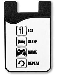 Eat Sleep Game Repeat Black Graphic Titular de la Tarjeta de crédito para Smartphone