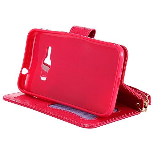 Coque Galaxy J1 2016, ISAKEN Coque pour Samsung Galaxy J1 2016 - Peinture Style Lumineux Luminous Etui PU Cuir Flip Magnétique Portefeuille Etui Housse de Protection Coque étui Case Cover avec Stand S Rose rouge